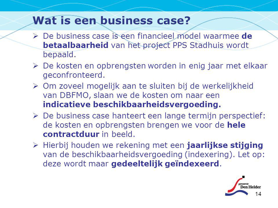 Wat is een business case?  De business case is een financieel model waarmee de betaalbaarheid van het project PPS Stadhuis wordt bepaald.  De kosten