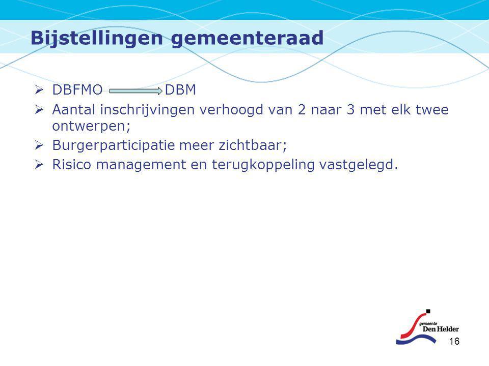 Bijstellingen gemeenteraad  DBFMO DBM  Aantal inschrijvingen verhoogd van 2 naar 3 met elk twee ontwerpen;  Burgerparticipatie meer zichtbaar;  Ri