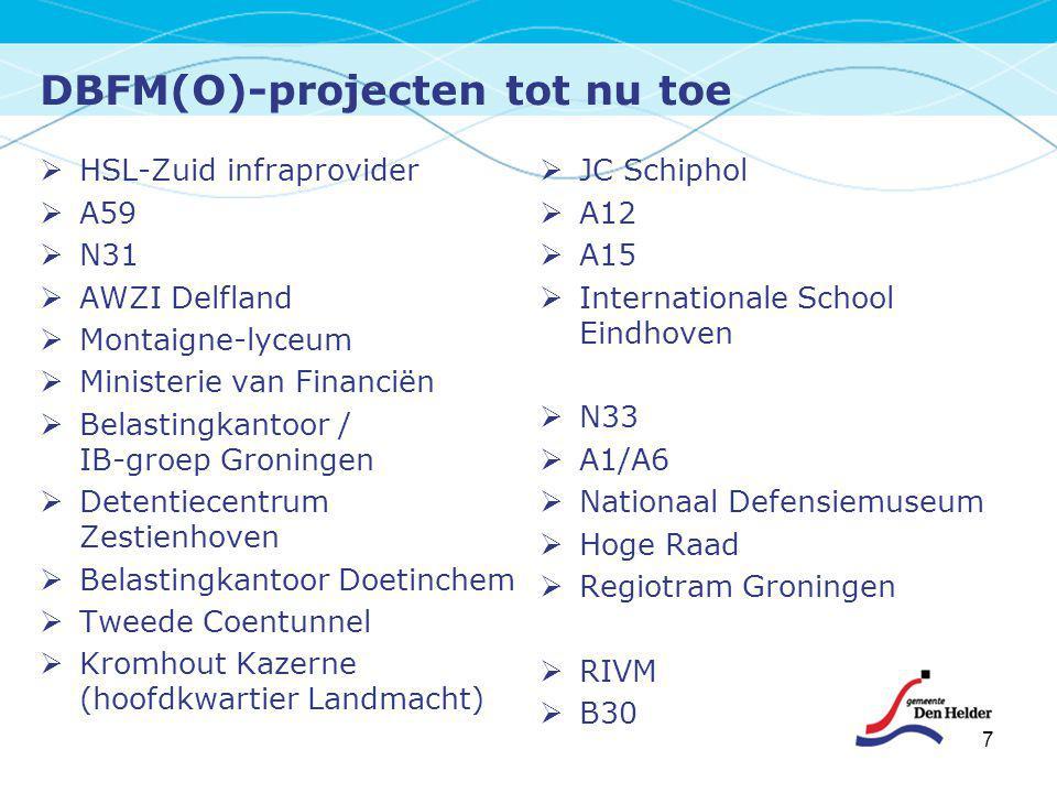 DBFM(O)-projecten tot nu toe  HSL-Zuid infraprovider  A59  N31  AWZI Delfland  Montaigne-lyceum  Ministerie van Financiën  Belastingkantoor / I
