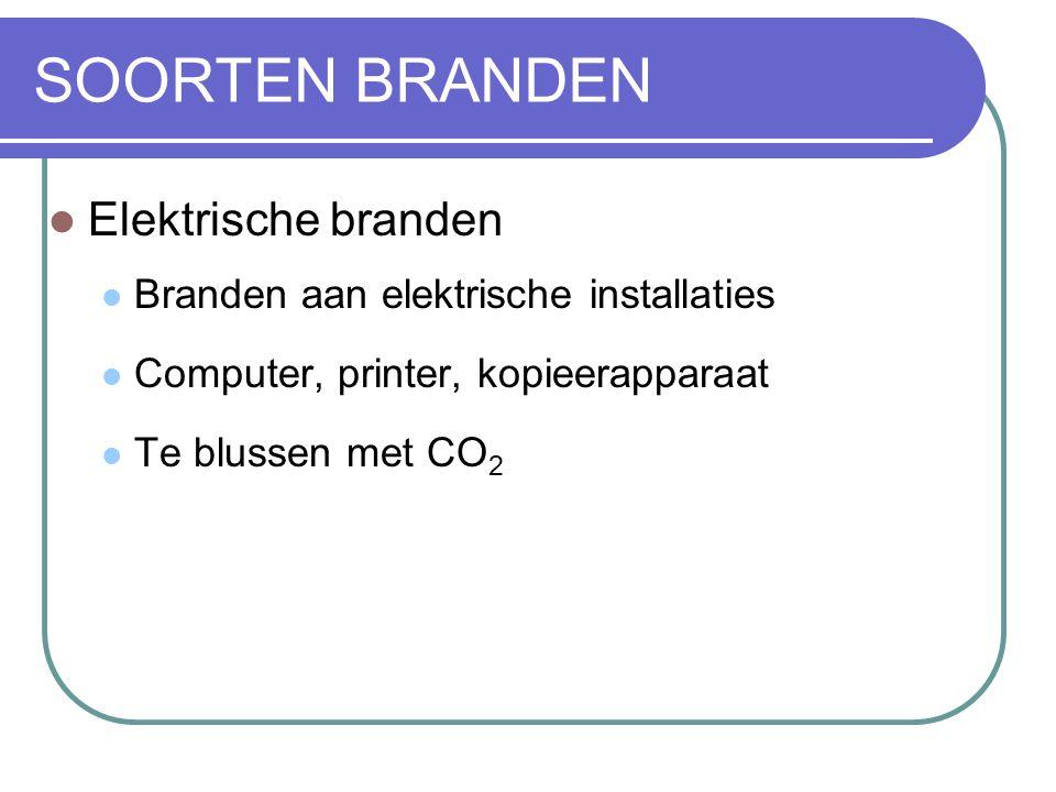 SOORTEN BRANDEN Elektrische branden Branden aan elektrische installaties Computer, printer, kopieerapparaat Te blussen met CO 2