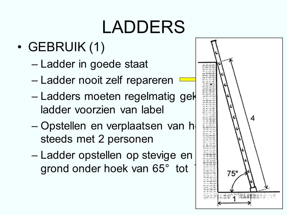 LADDERS GEBRUIK (1) –Ladder in goede staat –Ladder nooit zelf repareren deskundige –Ladders moeten regelmatig gekeurd worden ladder voorzien van label –Opstellen en verplaatsen van hoge ladder steeds met 2 personen –Ladder opstellen op stevige en vlakke onder- grond onder hoek van 65° tot 75°