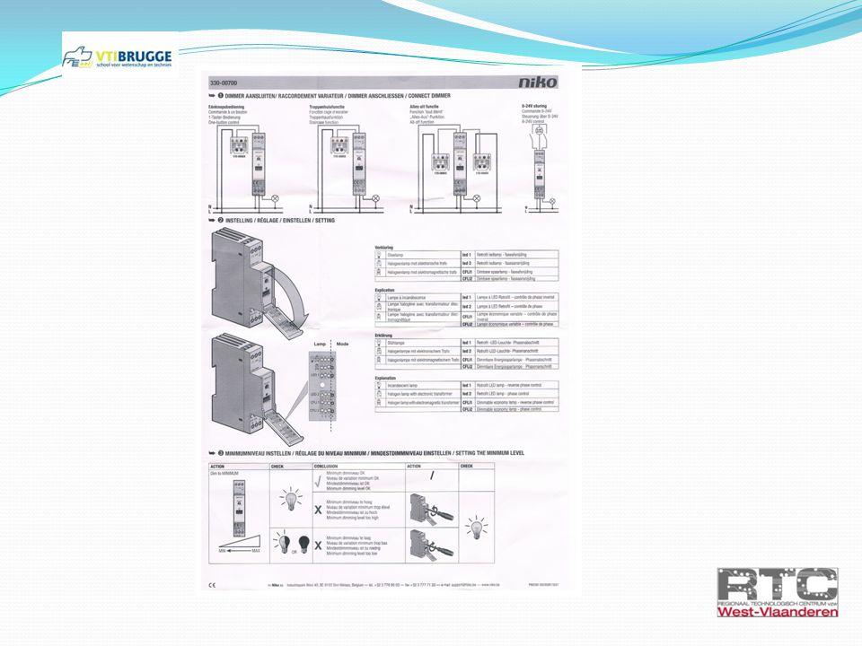 Oefening 1: LED schakelen armatuur minigrid Benodigdheden: - Minigrid armatuur (nr 2) - 2 LED voedingen - voeding 1: LED – power 500mA (nr 8) - Voeding 2: LED – power 700mA (nr 12) - 1 NIKO dubbelpolige schakelaar (nr 15)