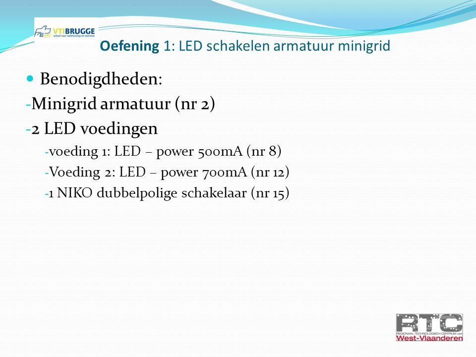 Oefening 1: LED schakelen armatuur minigrid Benodigdheden: - Minigrid armatuur (nr 2) - 2 LED voedingen - voeding 1: LED – power 500mA (nr 8) - Voedin