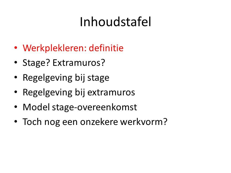 Inhoudstafel Werkplekleren: definitie Stage? Extramuros? Regelgeving bij stage Regelgeving bij extramuros Model stage-overeenkomst Toch nog een onzeke