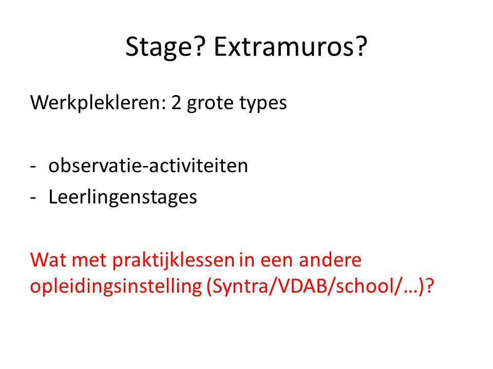 Stage? Extramuros? Werkplekleren: 2 grote types -observatie-activiteiten -Leerlingenstages Wat met praktijklessen in een andere opleidingsinstelling (