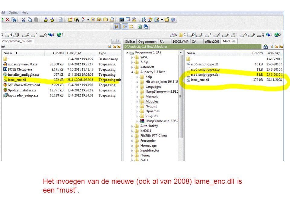"""Het invoegen van de nieuwe (ook al van 2008) lame_enc.dll is een """"must""""."""