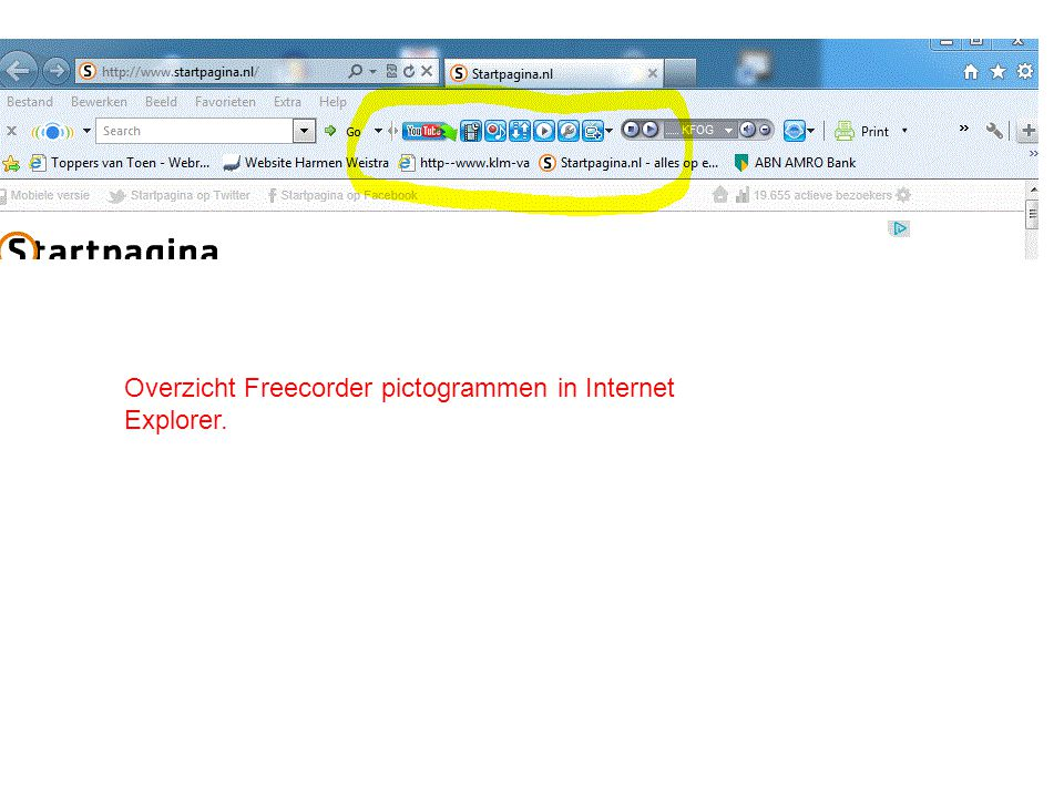 Overzicht Freecorder pictogrammen in Internet Explorer.