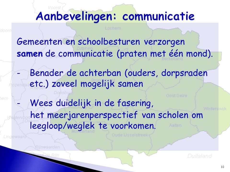 Gemeenten en schoolbesturen verzorgen samen de communicatie (praten met één mond).