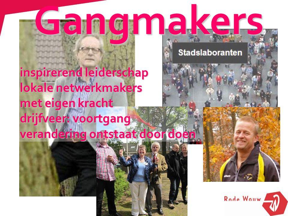 inspirerend leiderschap lokale netwerkmakers met eigen kracht drijfveer: voortgang verandering ontstaat door doen Gangmakers