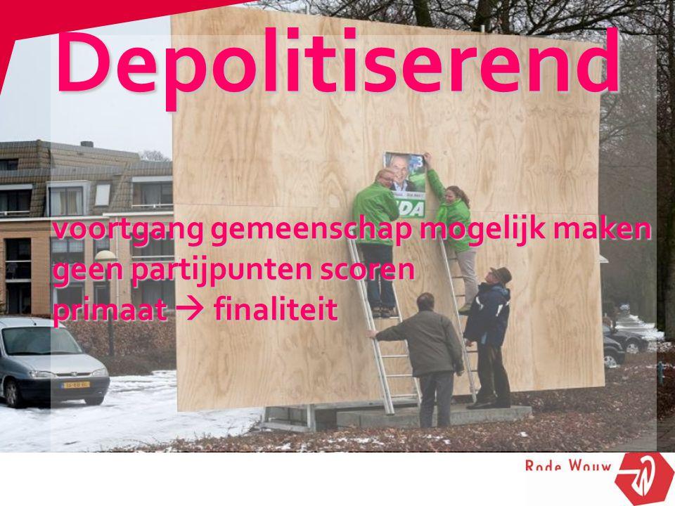 voortgang gemeenschap mogelijk maken geen partijpunten scoren primaat  finaliteit Depolitiserend