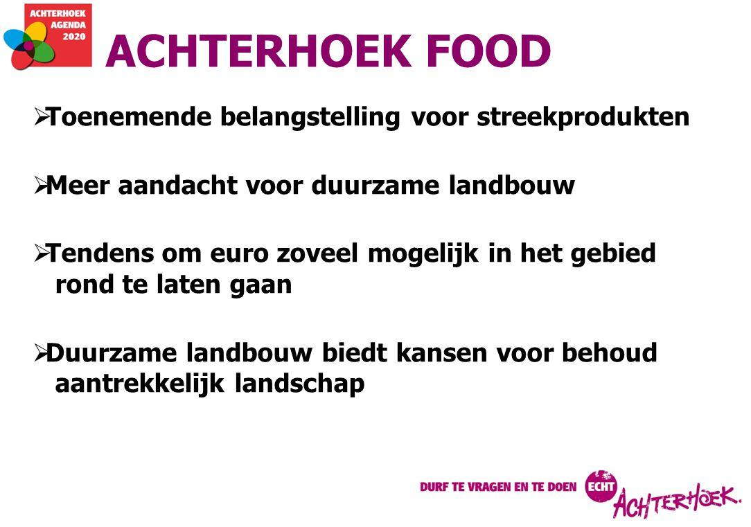 ACHTERHOEK FOOD  Toenemende belangstelling voor streekprodukten  Meer aandacht voor duurzame landbouw  Tendens om euro zoveel mogelijk in het gebied rond te laten gaan  Duurzame landbouw biedt kansen voor behoud aantrekkelijk landschap