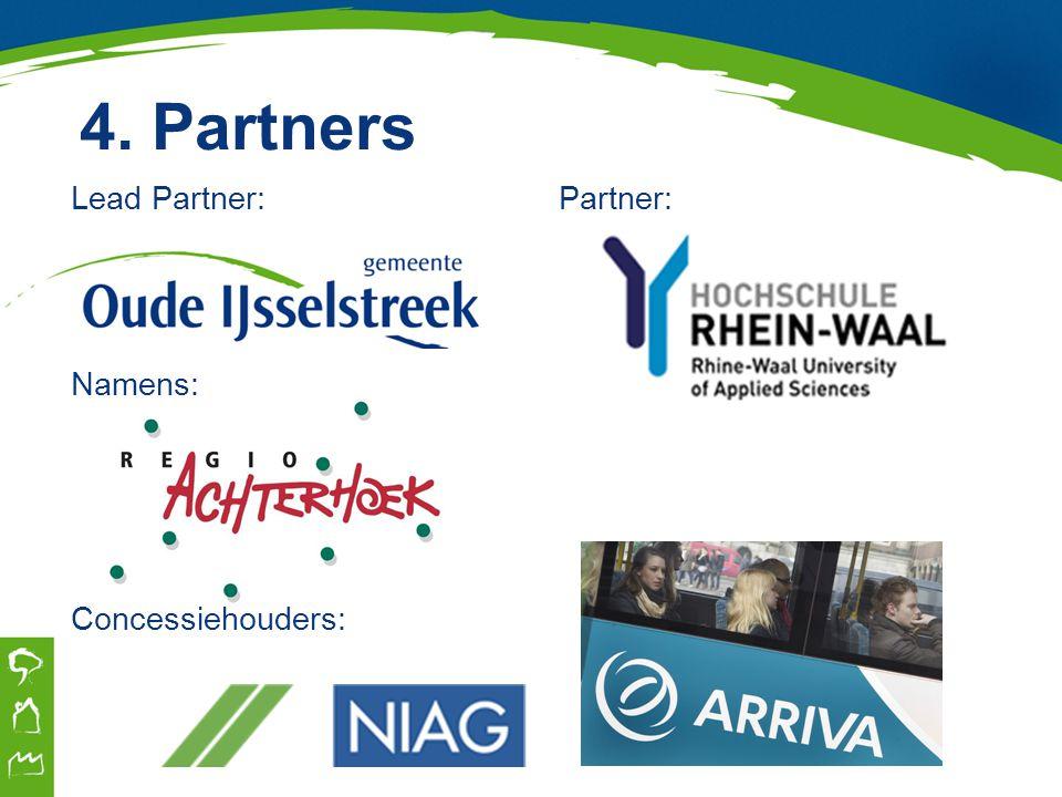 4. Partners Lead Partner: Partner: Namens: Concessiehouders: