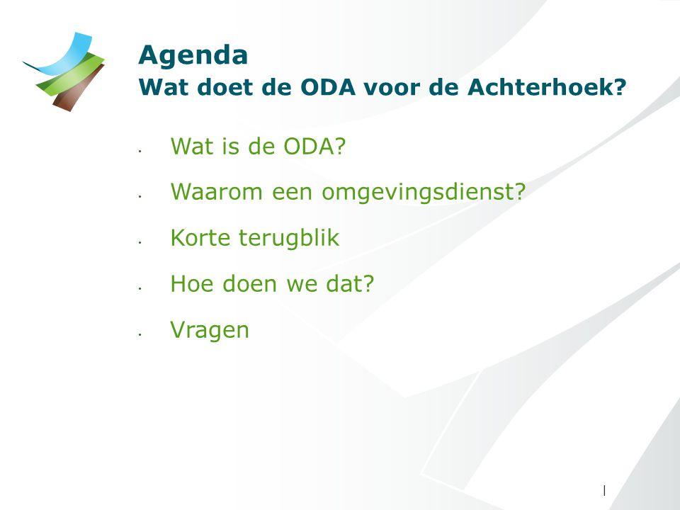 | Agenda Wat doet de ODA voor de Achterhoek? Wat is de ODA? Waarom een omgevingsdienst? Korte terugblik Hoe doen we dat? Vragen