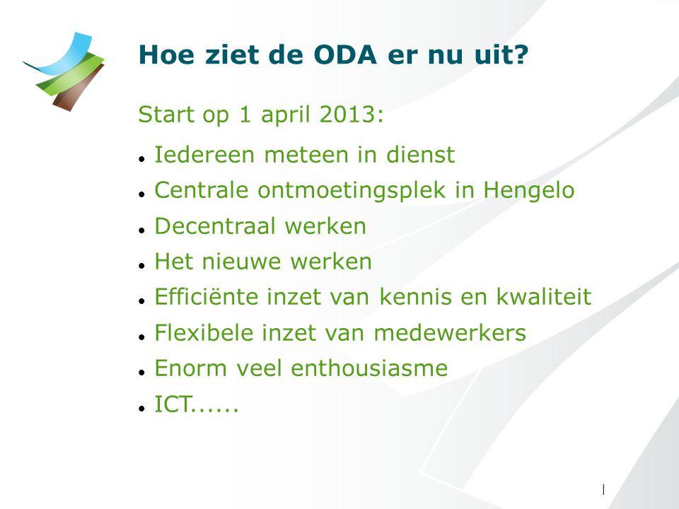 | Hoe ziet de ODA er nu uit? Start op 1 april 2013: Iedereen meteen in dienst Centrale ontmoetingsplek in Hengelo Decentraal werken Het nieuwe werken
