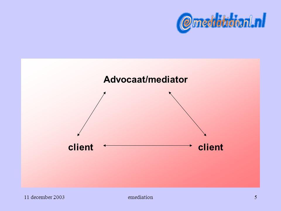 11 december 2003emediation16 De werkwijze Fase 3 Het geschil wordt in het emediation-proces inhoudelijk besproken.