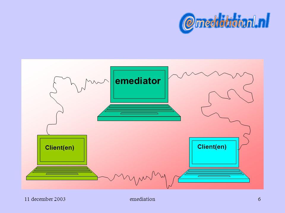 11 december 2003emediation7  Start *posities *belangen *win-win *relatie *mediation