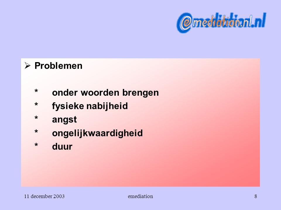11 december 2003emediation8  Problemen *onder woorden brengen *fysieke nabijheid *angst *ongelijkwaardigheid *duur