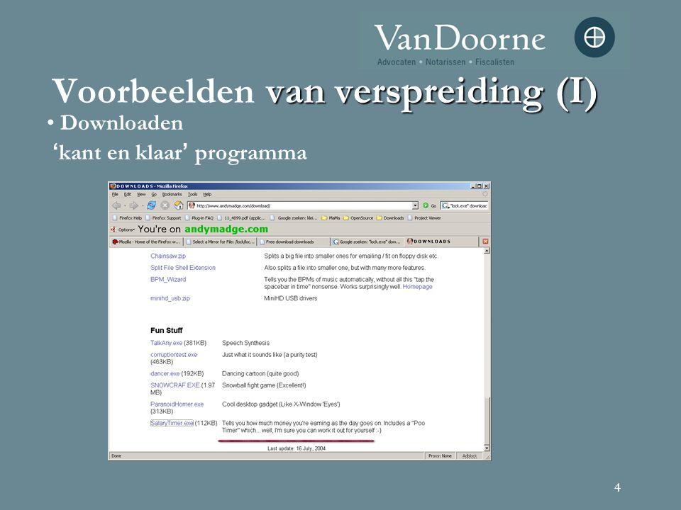 4 van verspreiding (I) Voorbeelden van verspreiding (I) Downloaden ' kant en klaar ' programma
