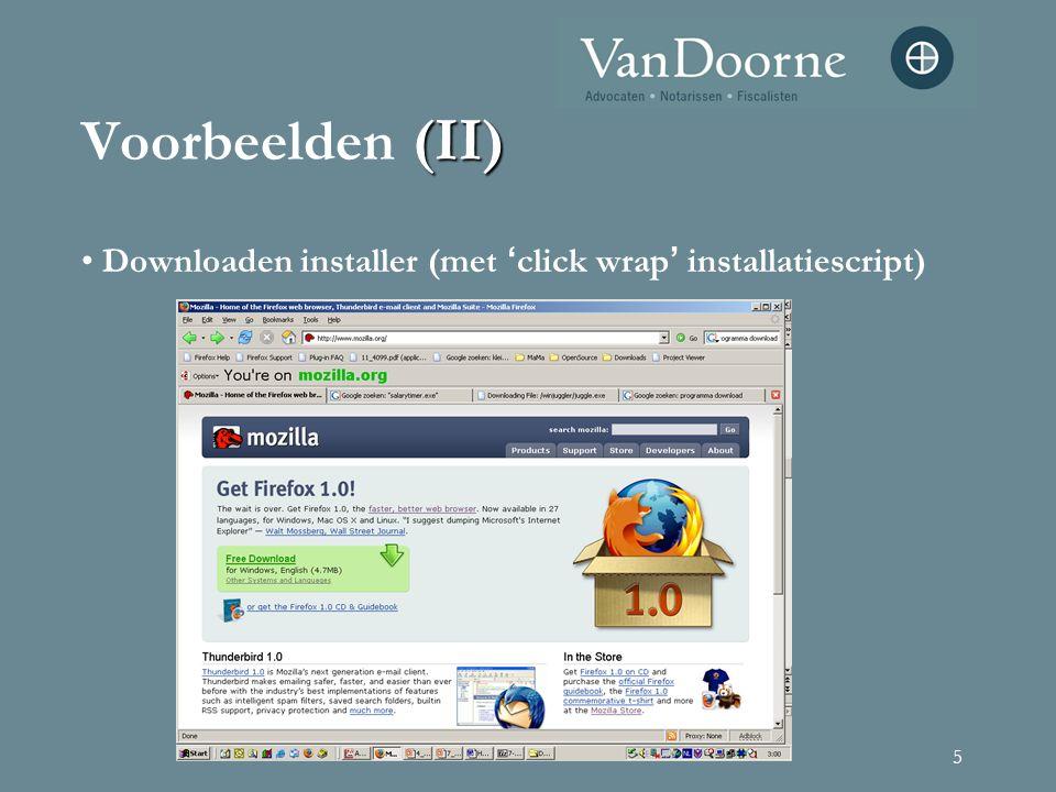 5 (II) Voorbeelden (II) Downloaden installer (met ' click wrap ' installatiescript)