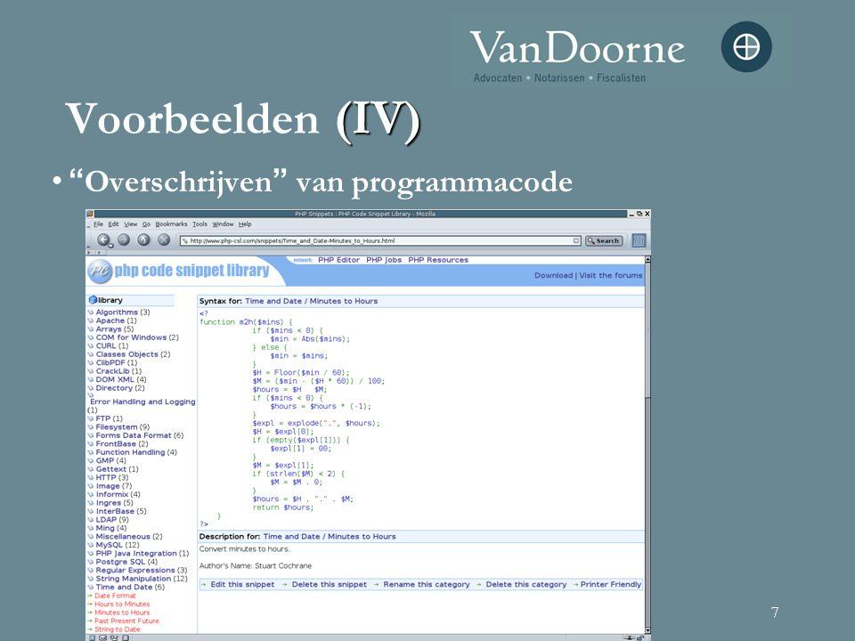 """7 """" Overschrijven """" van programmacode (IV) Voorbeelden (IV)"""