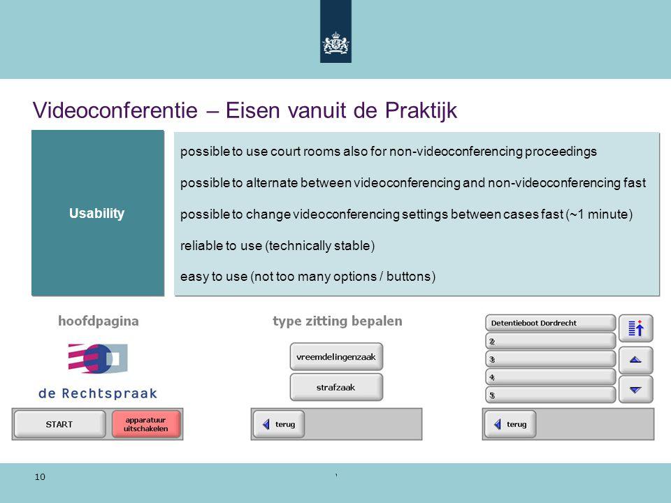 Voorbeeldpresentatie | 28 oktober 2010 10 Videoconferentie – Eisen vanuit de Praktijk possible to use court rooms also for non-videoconferencing proce