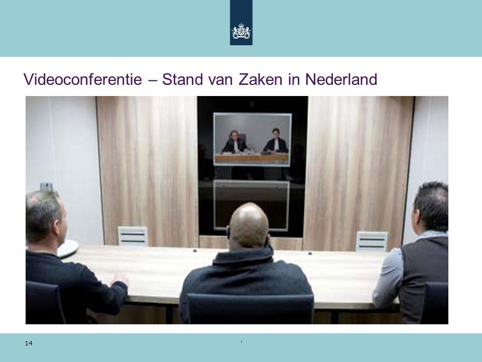Voorbeeldpresentatie | 28 oktober 2010 14 Videoconferentie – Stand van Zaken in Nederland