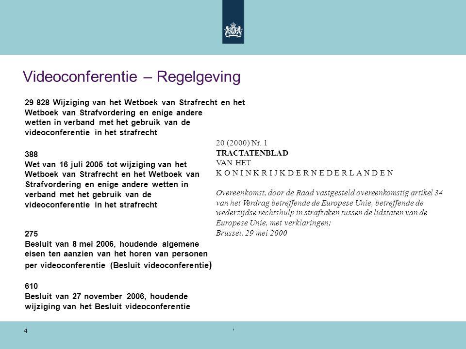 Voorbeeldpresentatie | 28 oktober 2010 4 Videoconferentie – Regelgeving 388 Wet van 16 juli 2005 tot wijziging van het Wetboek van Strafrecht en het W