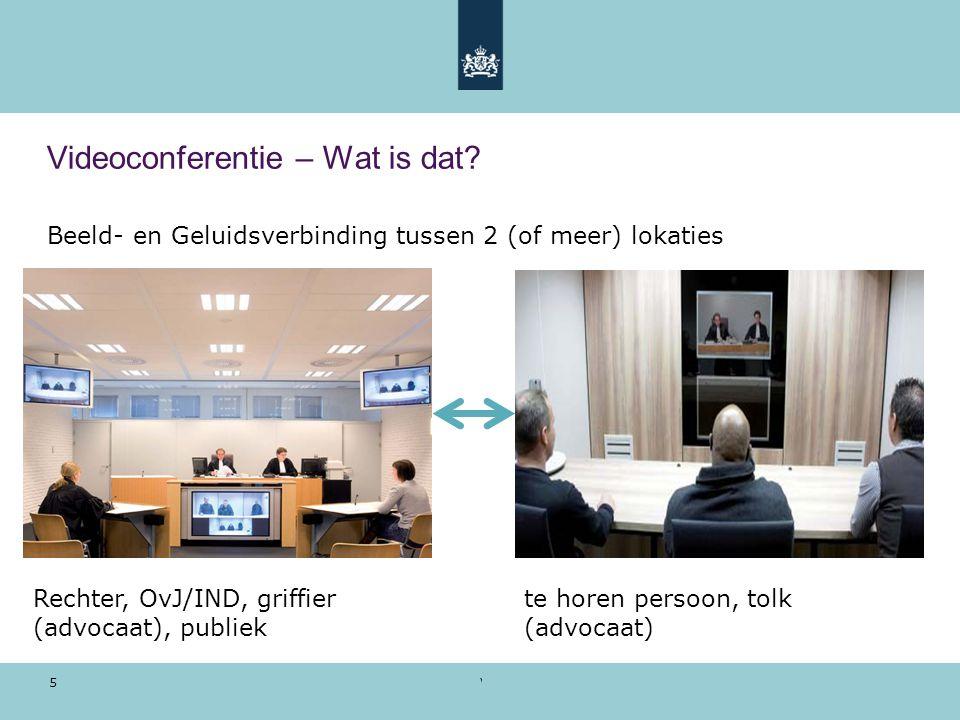 Voorbeeldpresentatie | 28 oktober 2010 5 Videoconferentie – Wat is dat? Beeld- en Geluidsverbinding tussen 2 (of meer) lokaties Rechter, OvJ/IND, grif