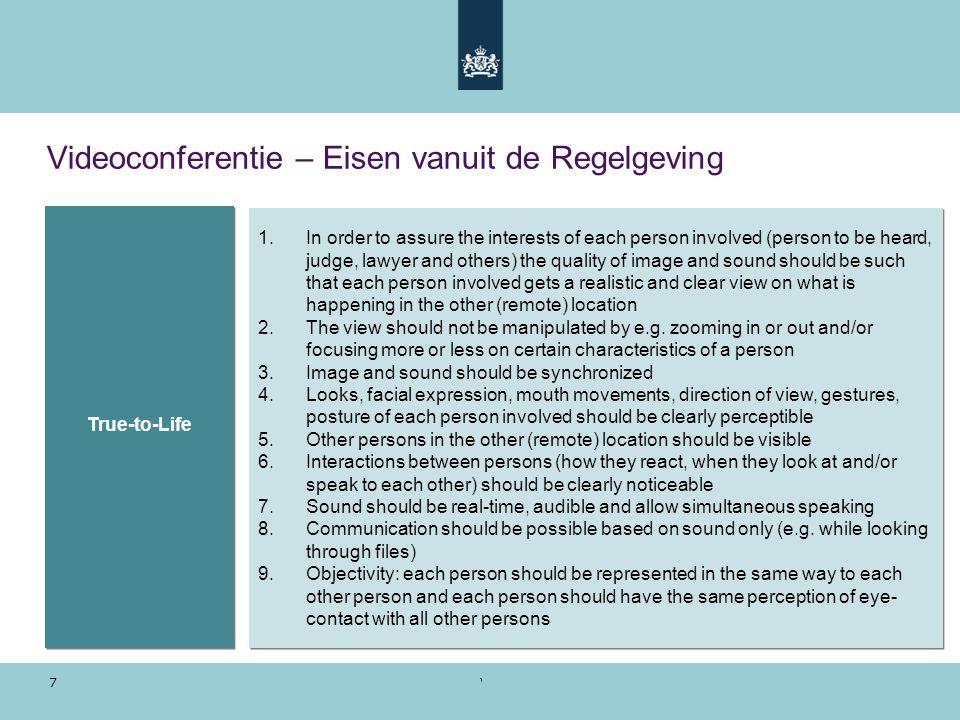 Voorbeeldpresentatie | 28 oktober 2010 7 Videoconferentie – Eisen vanuit de Regelgeving 1.In order to assure the interests of each person involved (pe