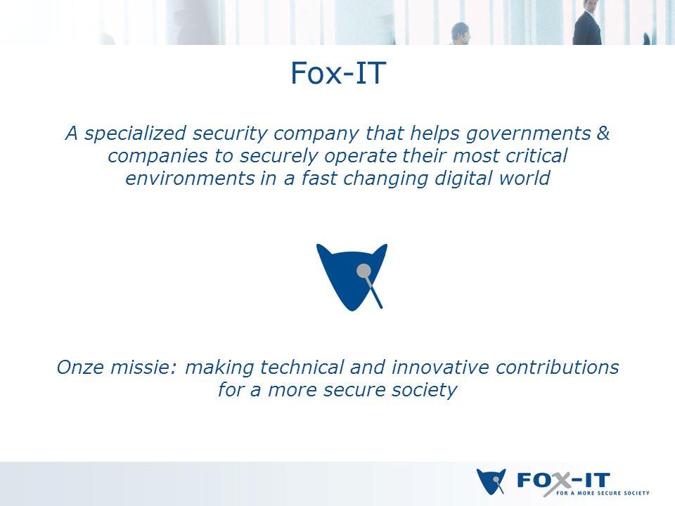 Bedankt voor uw aandacht! Hans Henseler henseler@fox-it.com