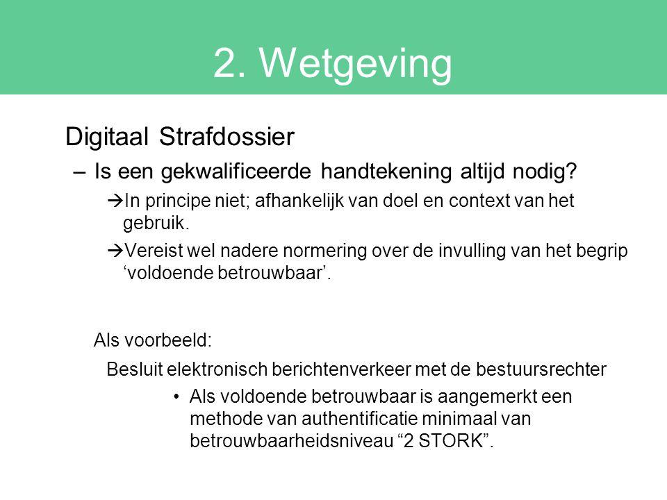 2. Wetgeving Digitaal Strafdossier –Is een gekwalificeerde handtekening altijd nodig?  In principe niet; afhankelijk van doel en context van het gebr