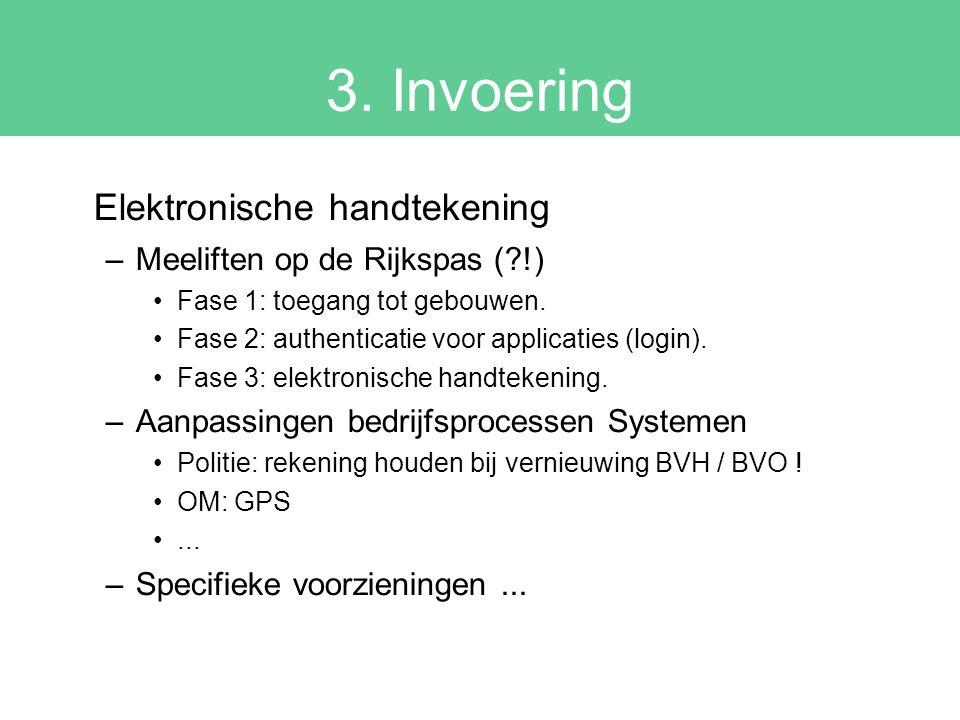 3. Invoering Elektronische handtekening –Meeliften op de Rijkspas (?!) Fase 1: toegang tot gebouwen. Fase 2: authenticatie voor applicaties (login). F