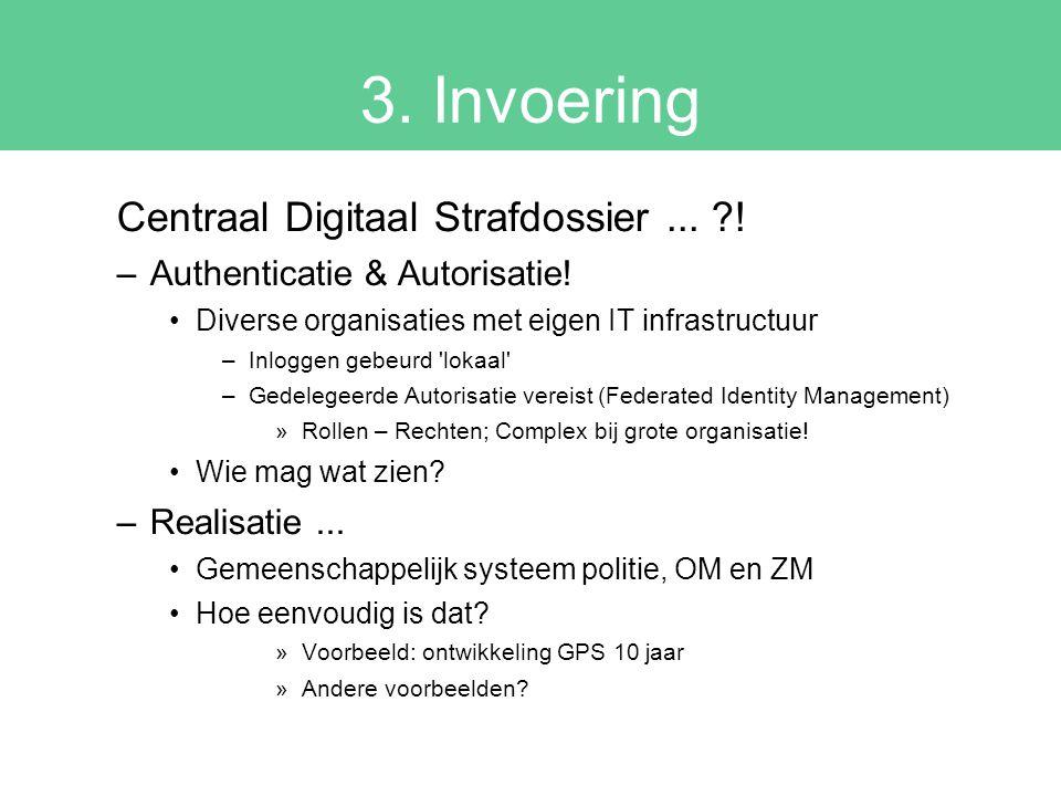 3. Invoering Centraal Digitaal Strafdossier... ?! –Authenticatie & Autorisatie! Diverse organisaties met eigen IT infrastructuur –Inloggen gebeurd 'lo