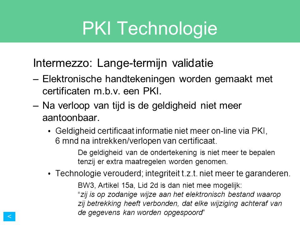 PKI Technologie Intermezzo: Lange-termijn validatie –Elektronische handtekeningen worden gemaakt met certificaten m.b.v. een PKI. –Na verloop van tijd