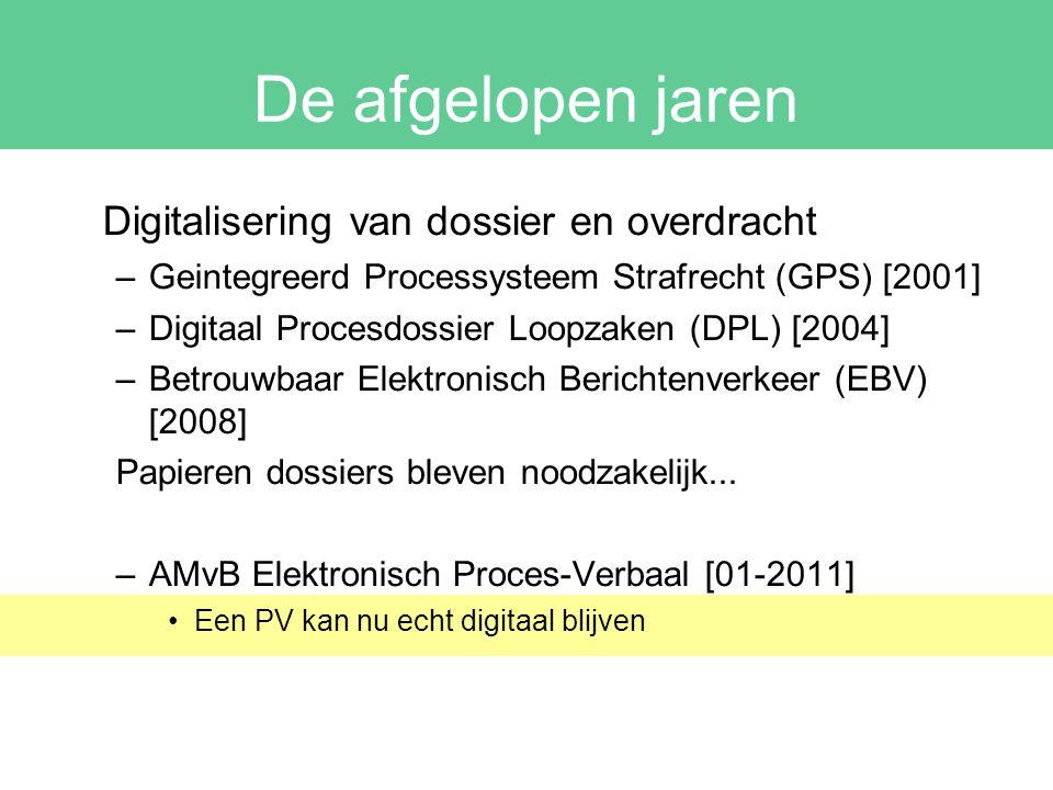 De afgelopen jaren Digitalisering van dossier en overdracht –Geintegreerd Processysteem Strafrecht (GPS) [2001] –Digitaal Procesdossier Loopzaken (DPL) [2004] –Betrouwbaar Elektronisch Berichtenverkeer (EBV) [2008] Papieren dossiers bleven noodzakelijk...