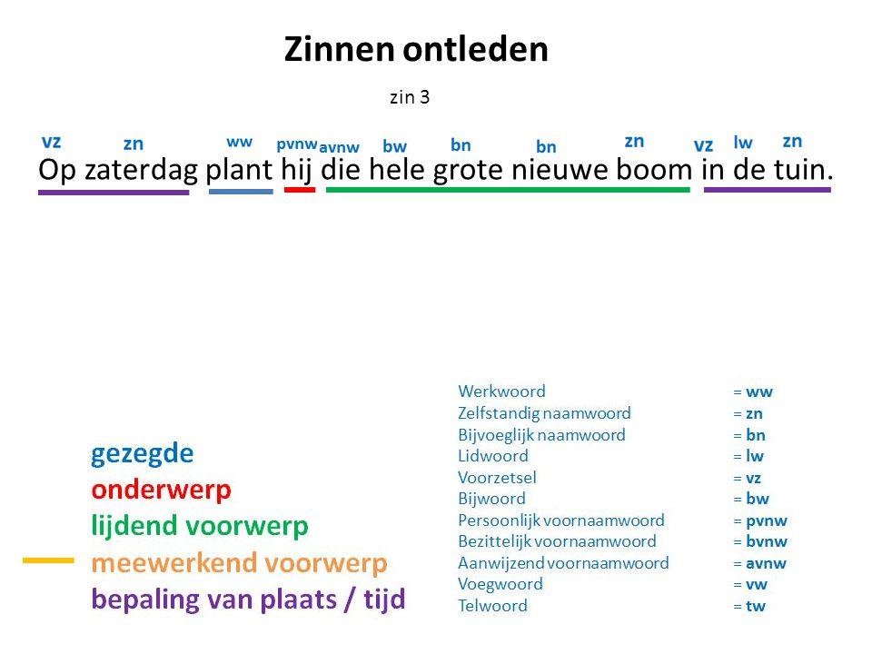 Op zaterdag plant hij die hele grote nieuwe boom in de tuin. zin 3 Zinnen ontleden