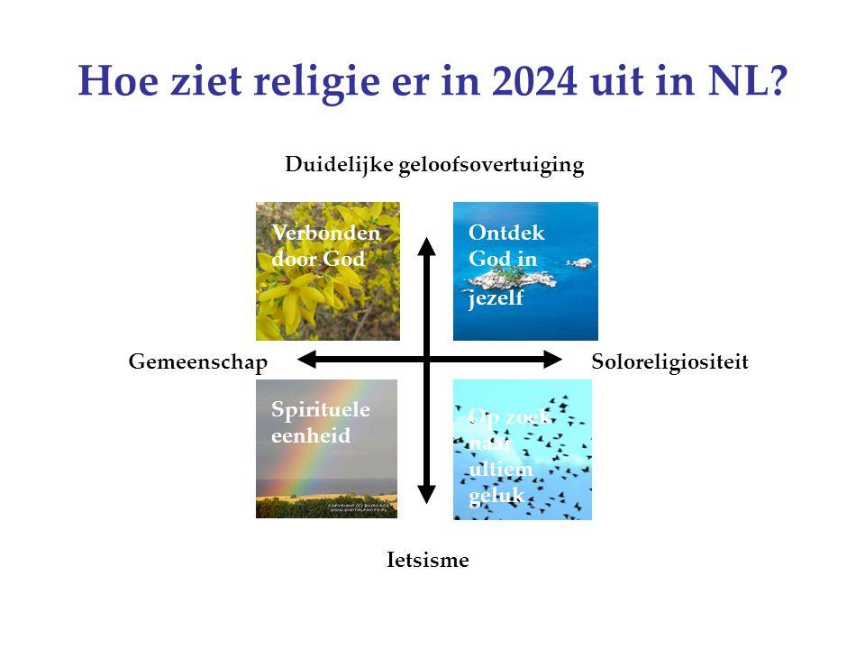 Hoe ziet religie er in 2024 uit in NL? Duidelijke geloofsovertuiging Ietsisme GemeenschapSoloreligiositeit Verbonden door God Ontdek God in jezelf Spi