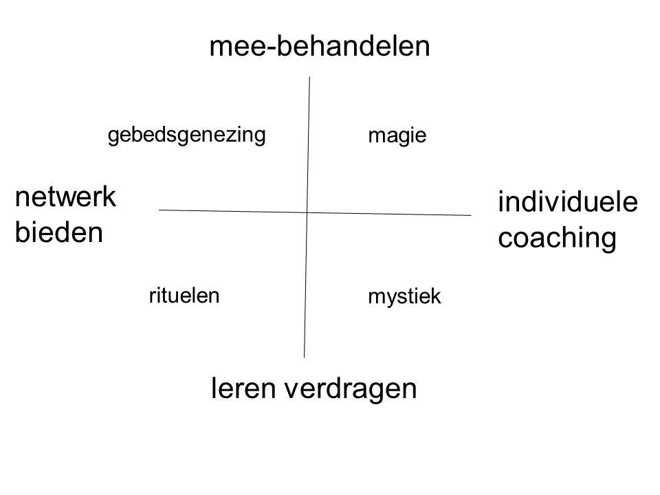 mee-behandelen netwerk bieden individuele coaching leren verdragen gebedsgenezing magie mystiek rituelen