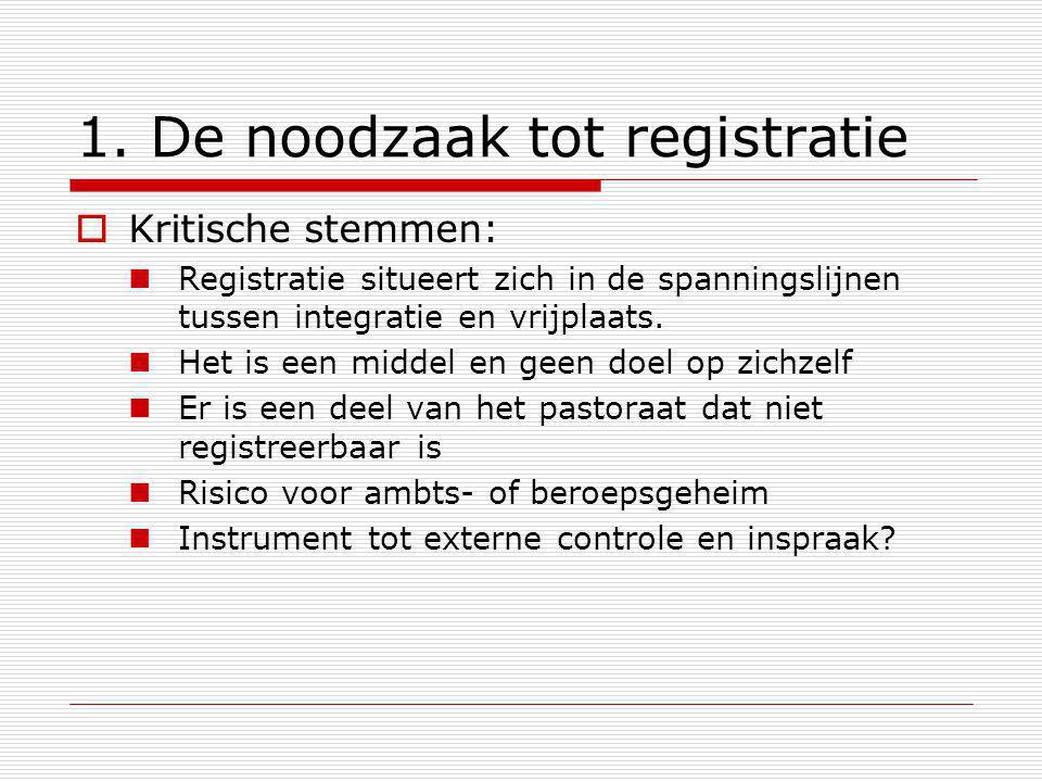 1. De noodzaak tot registratie  Kritische stemmen: Registratie situeert zich in de spanningslijnen tussen integratie en vrijplaats. Het is een middel