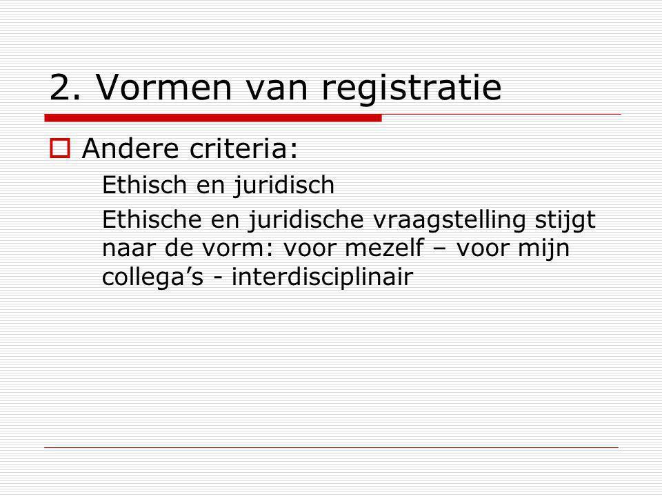 2. Vormen van registratie  Andere criteria: Ethisch en juridisch Ethische en juridische vraagstelling stijgt naar de vorm: voor mezelf – voor mijn co