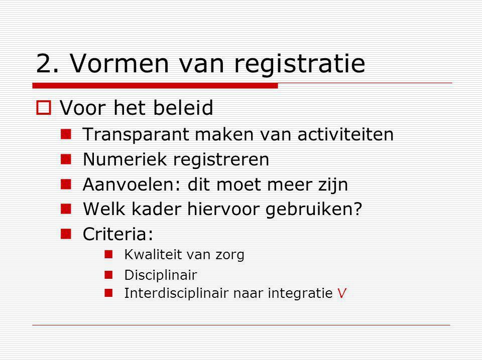 2. Vormen van registratie  Voor het beleid Transparant maken van activiteiten Numeriek registreren Aanvoelen: dit moet meer zijn Welk kader hiervoor