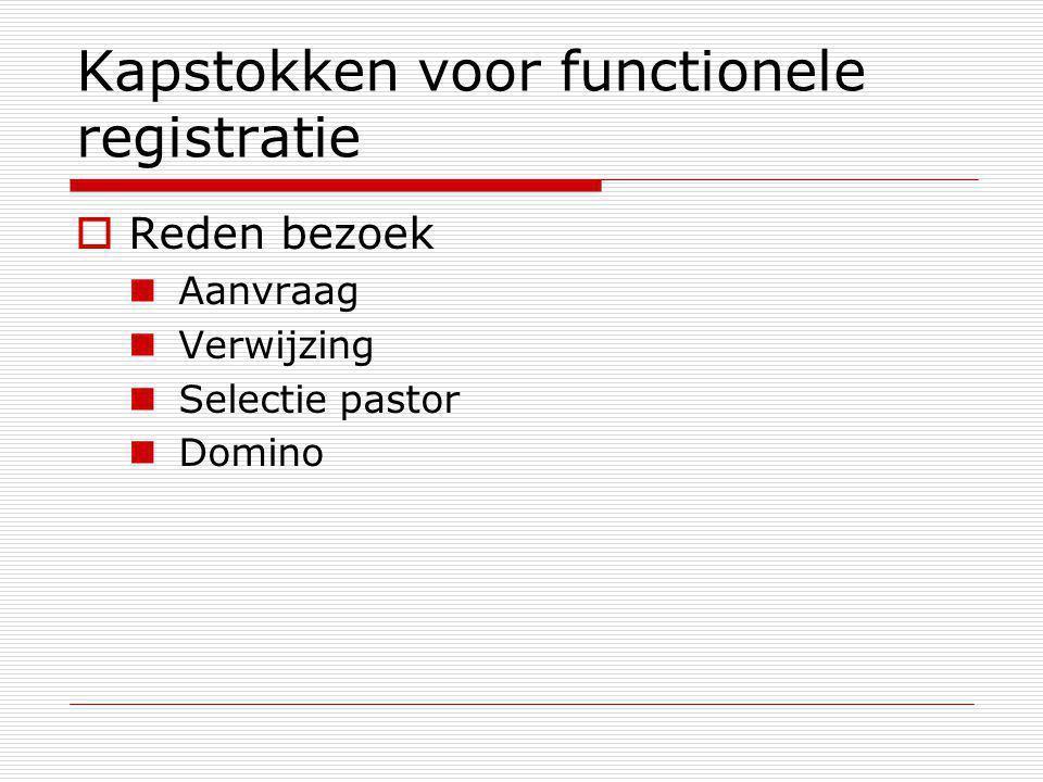 Kapstokken voor functionele registratie  Reden bezoek Aanvraag Verwijzing Selectie pastor Domino