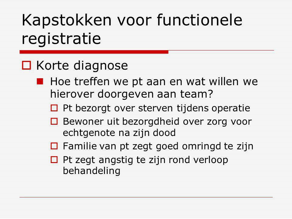 Kapstokken voor functionele registratie  Korte diagnose Hoe treffen we pt aan en wat willen we hierover doorgeven aan team.