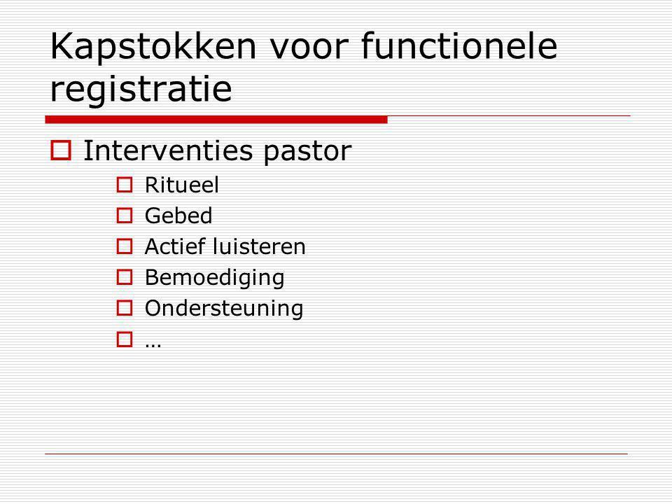 Kapstokken voor functionele registratie  Interventies pastor  Ritueel  Gebed  Actief luisteren  Bemoediging  Ondersteuning  …