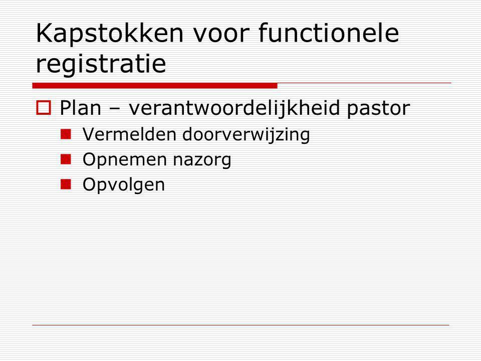 Kapstokken voor functionele registratie  Plan – verantwoordelijkheid pastor Vermelden doorverwijzing Opnemen nazorg Opvolgen
