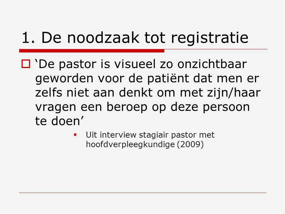 1. De noodzaak tot registratie  'De pastor is visueel zo onzichtbaar geworden voor de patiënt dat men er zelfs niet aan denkt om met zijn/haar vragen