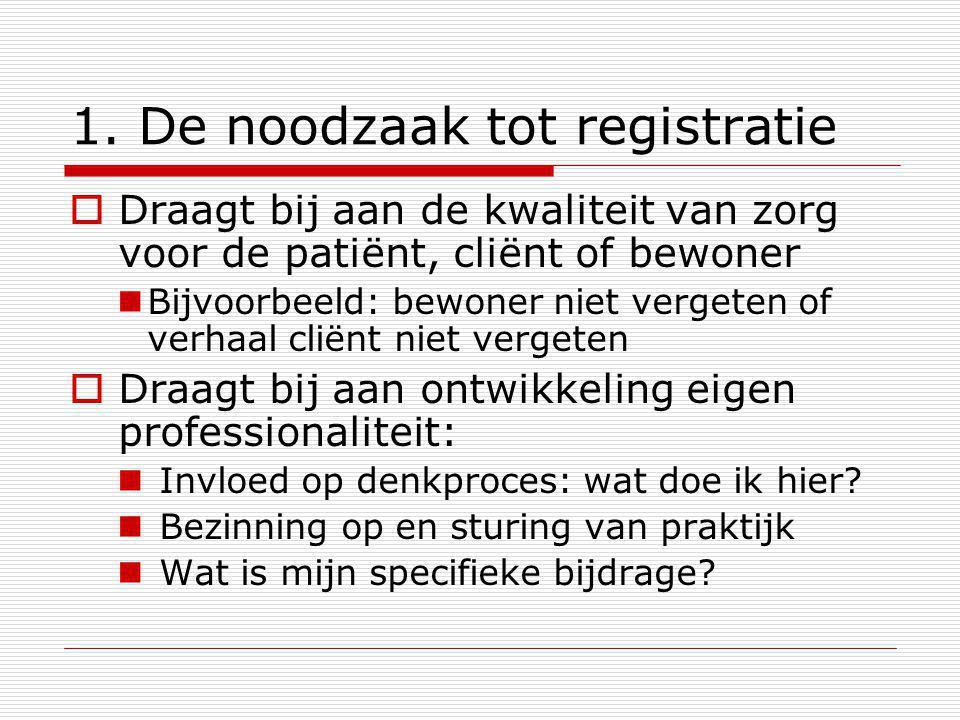 1. De noodzaak tot registratie  Draagt bij aan de kwaliteit van zorg voor de patiënt, cliënt of bewoner Bijvoorbeeld: bewoner niet vergeten of verhaa