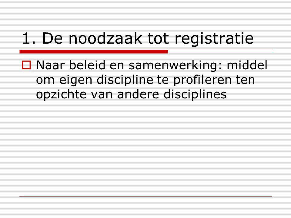 1. De noodzaak tot registratie  Naar beleid en samenwerking: middel om eigen discipline te profileren ten opzichte van andere disciplines