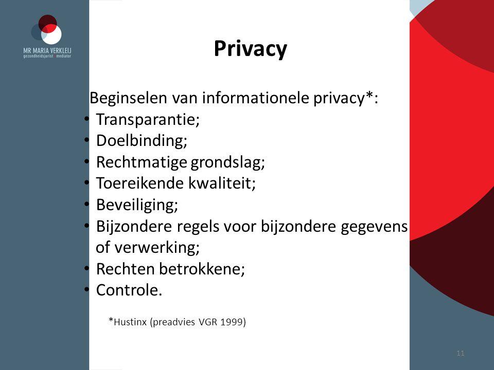 Privacy Beginselen van informationele privacy*: Transparantie; Doelbinding; Rechtmatige grondslag; Toereikende kwaliteit; Beveiliging; Bijzondere rege