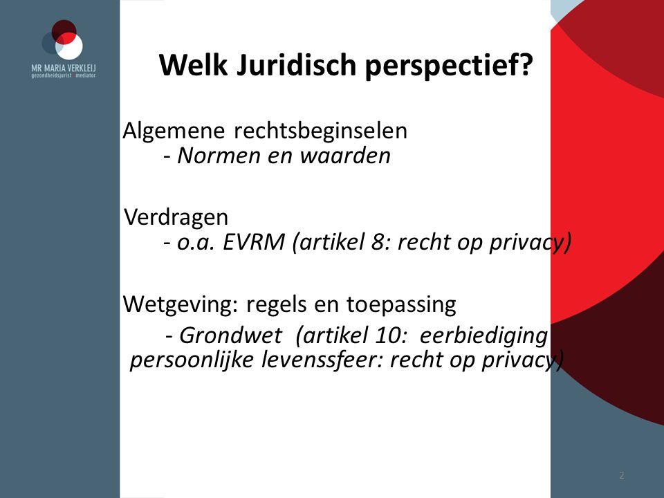 Welk Juridisch perspectief? Algemene rechtsbeginselen - Normen en waarden Verdragen - o.a. EVRM (artikel 8: recht op privacy) Wetgeving: regels en toe